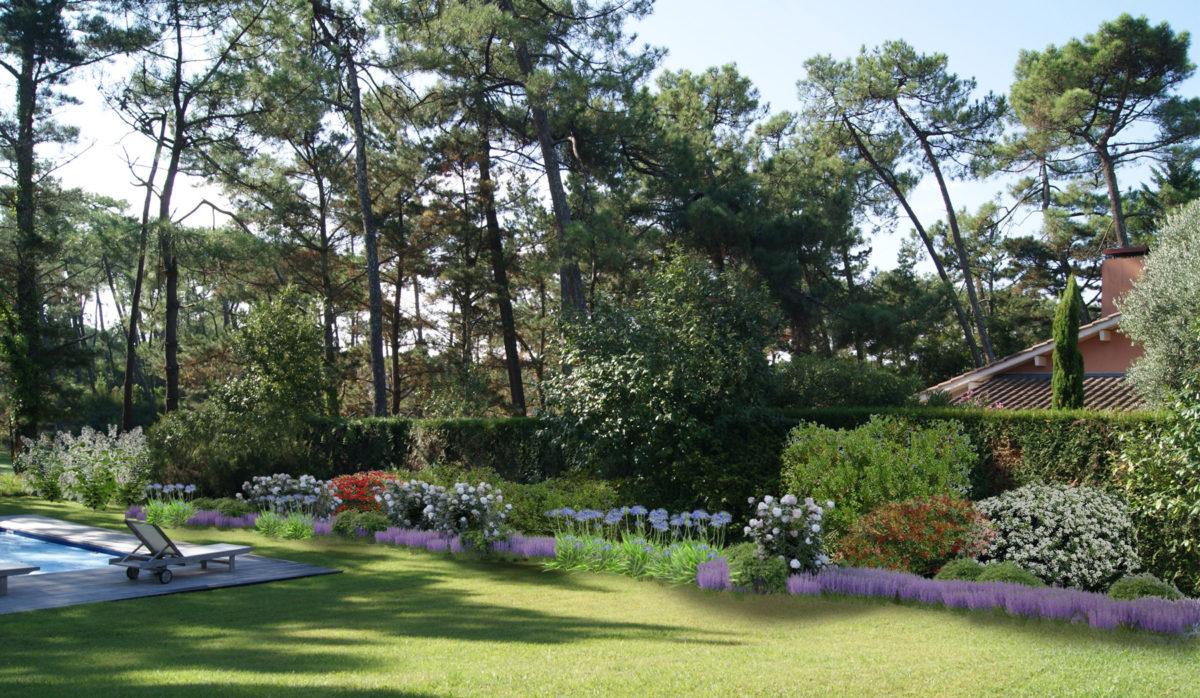 M tier plans 3d bureau d 39 tudes jardin de charme for Entretien jardin bidart
